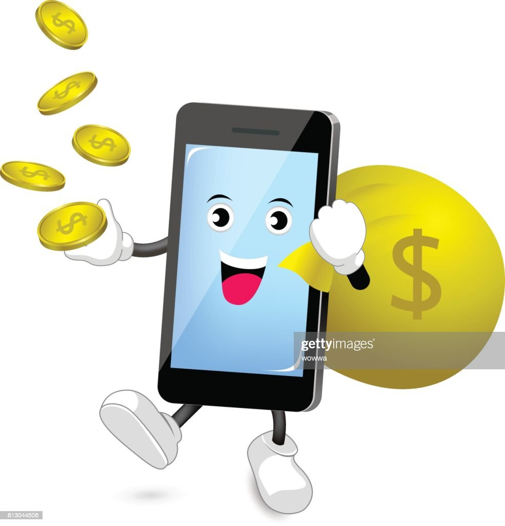 Cute Smartphone Character Holding Bag And Money Coins Vector Art