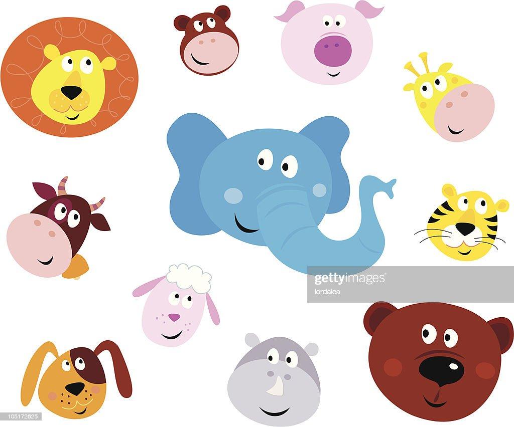 Cute smiling animal head icons ( emoticons )