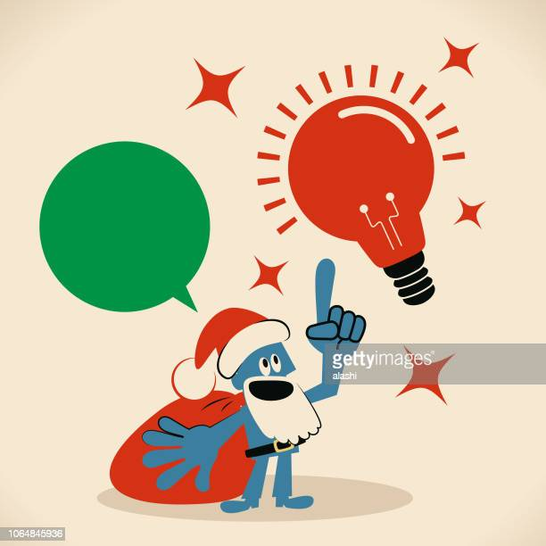 Cute smiling blue Santa Claus talking with a great idea light bulb