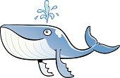 Cute Smiling Blue Whale Cartoon