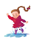 Cute smiling girl jumping in puddle. Funny girl cartoon characte
