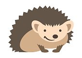 Cute smiling hedgehog kids cartoon illustration