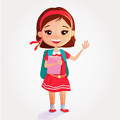Cute smiling schoolgirl , with backpack  take a book in one hand and say hello with another. Colorful cartoon character isolated.
