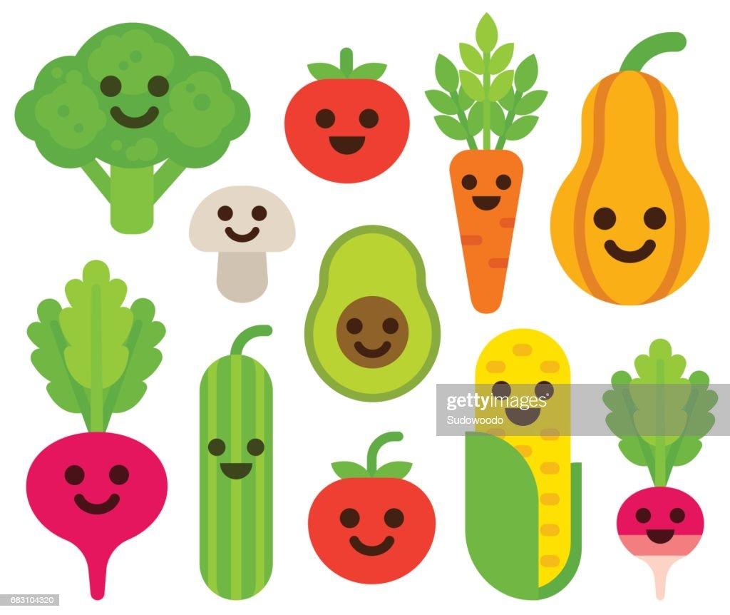 Cute smiling vegetables set