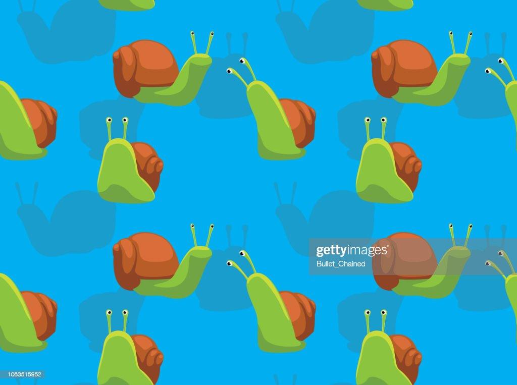 Cute Snail Cartoon Blue Background Seamless Wallpaper