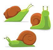 Cute Snail Poses Cartoon Vector Illustration