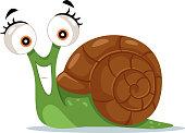 Cute Snail Vector Cartoon Illustration