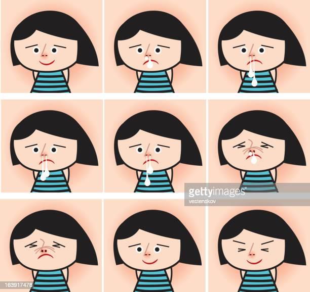 süße niesen asiatische mädchen - blowing nose stock-grafiken, -clipart, -cartoons und -symbole