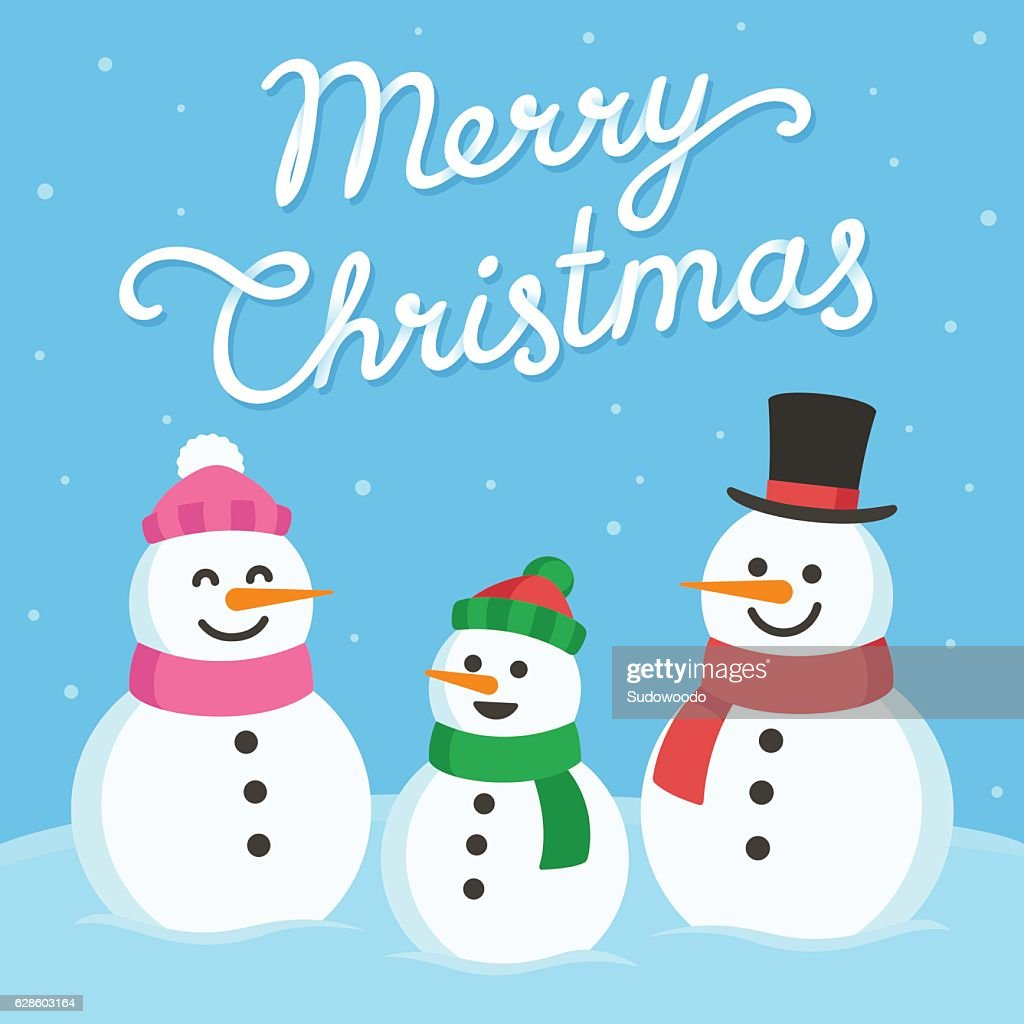 Cute snowman family greeting card