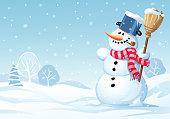 Cute Snowman Standing In A Meadow