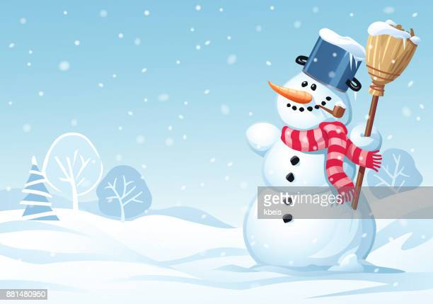 cute snowman standing in a meadow - snowman stock illustrations