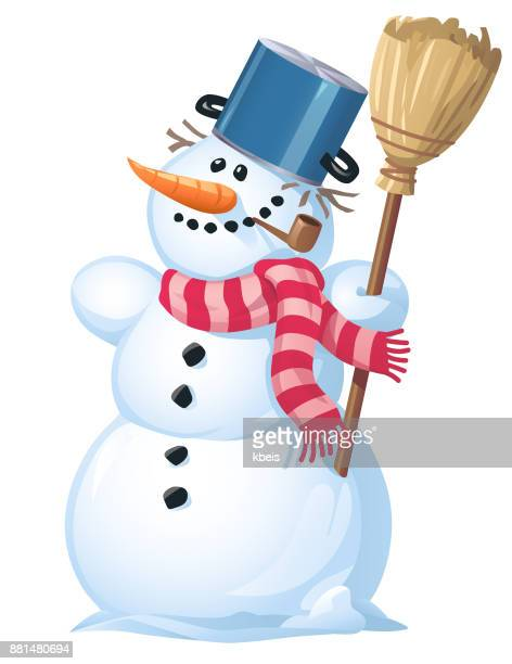 cute snowman with a broom - pipe smoking pipe stock illustrations, clip art, cartoons, & icons