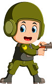 cute soldier with a gun