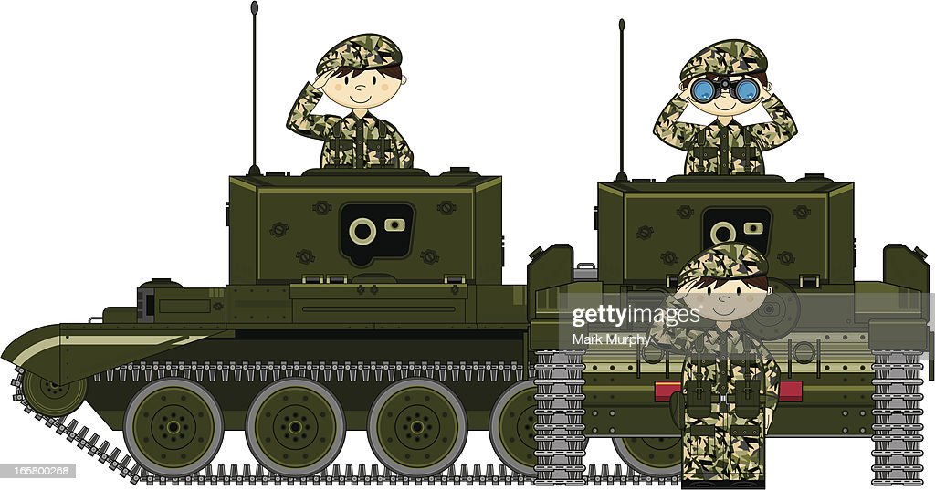 Cute Soldiers with Two Tanks