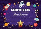 Cute Space Theme Children Certificate Of Achievement And Appreciation Template
