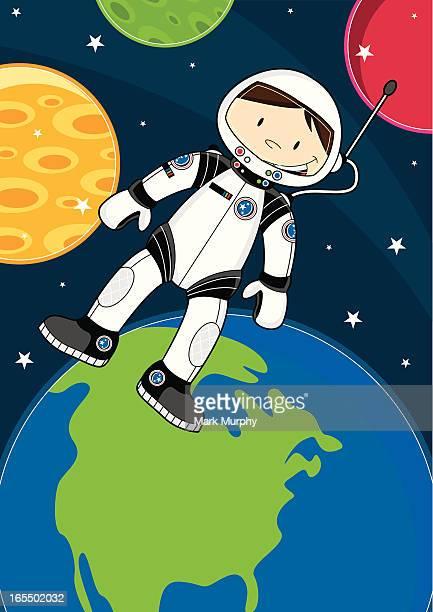 cute spaceman character in space - helmet visor stock illustrations, clip art, cartoons, & icons