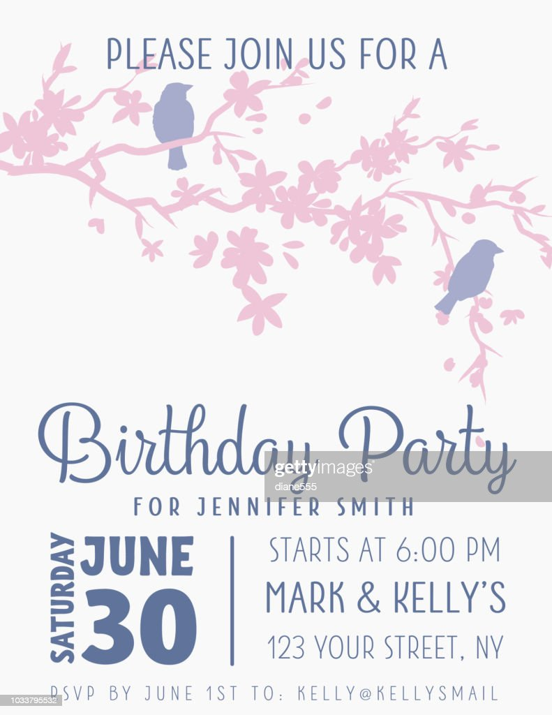 Cute Sparrows With Branches Birthday Party Invitation Template ...