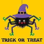 cute spider in witch hat