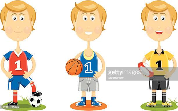 cute sportsmen - rugby shirt stock illustrations, clip art, cartoons, & icons
