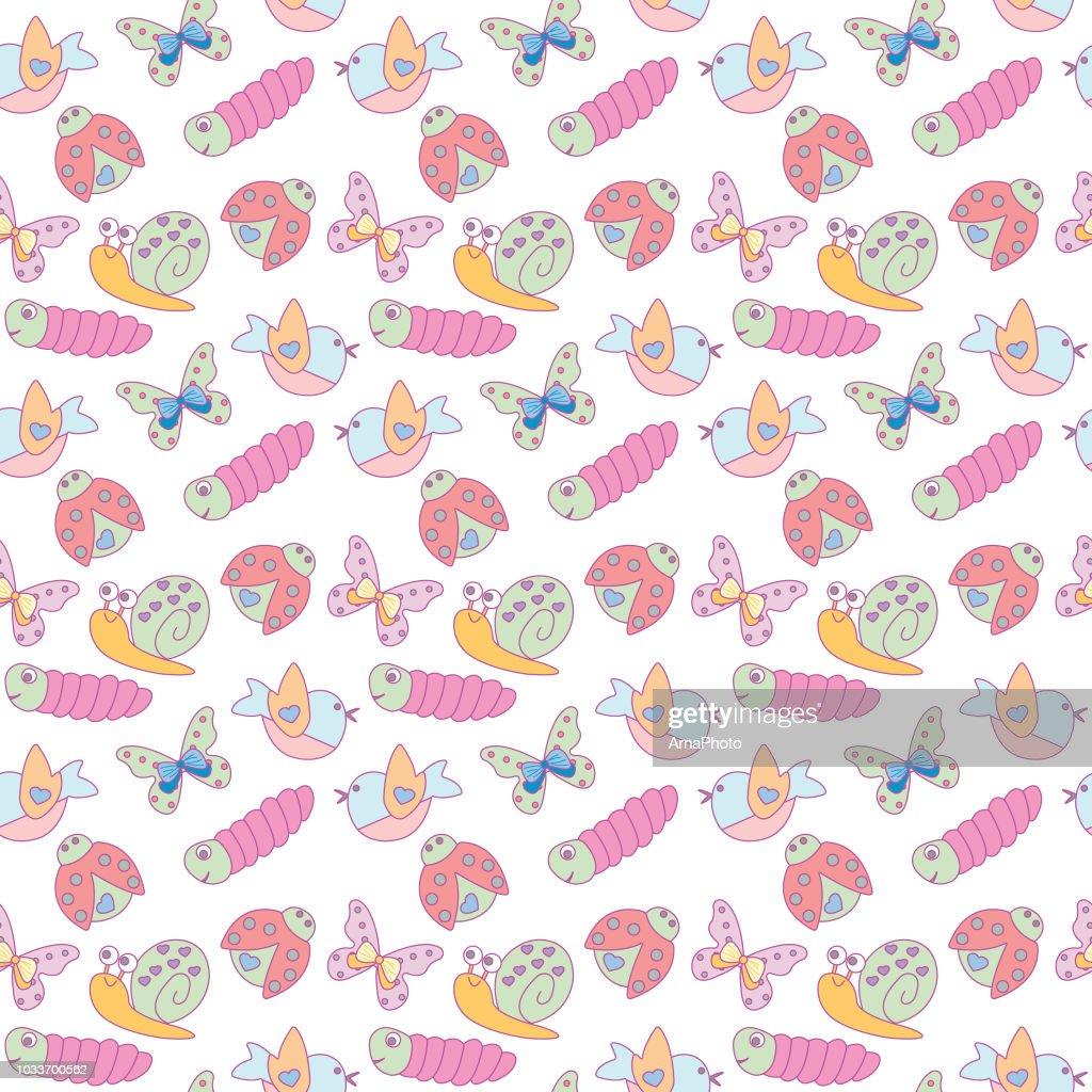 Cute spring animals seamless pattern. Vector design.