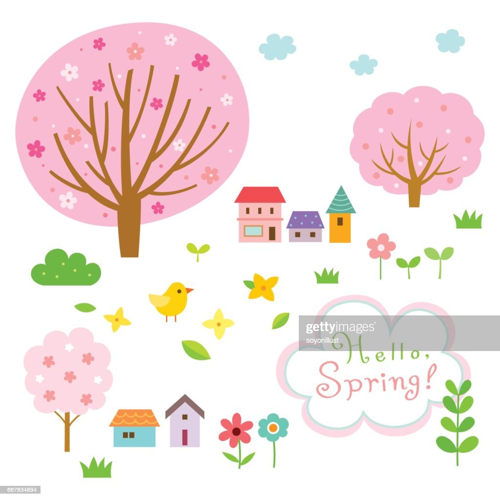 Cute spring village and floral nature elements set