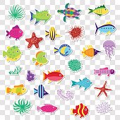 Cute stickers of sea marine fish, animals, plants. Vector set  on the transparent background
