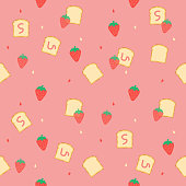 cute strawberry with bread jam pink