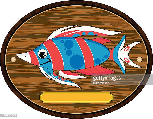 cute striped tropical fish trophy mount - memorial plaque stock illustrations, clip art, cartoons, & icons