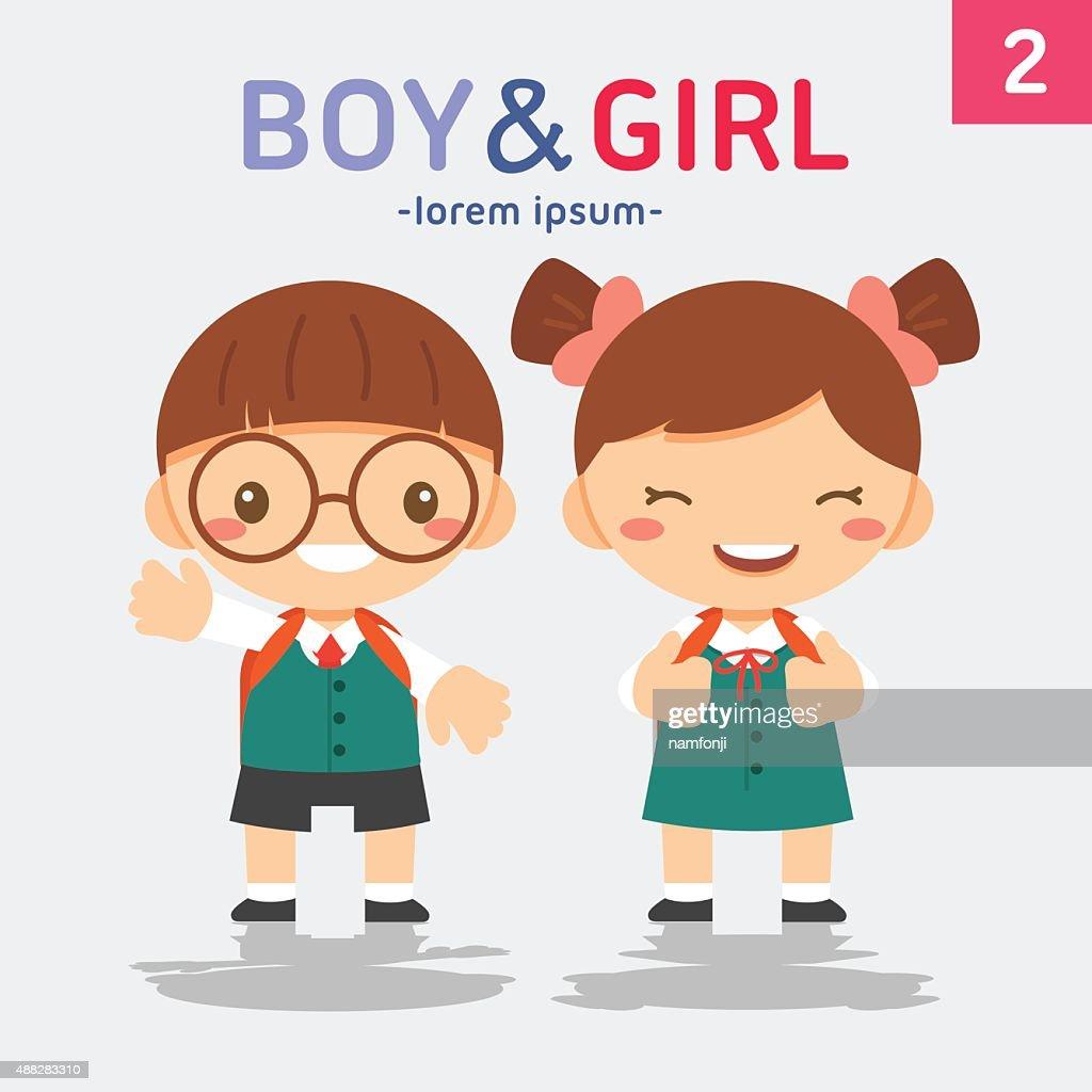 Cute students, vector illustration