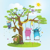 Cute summer animals freinds playing under the tree, swinging, reading.