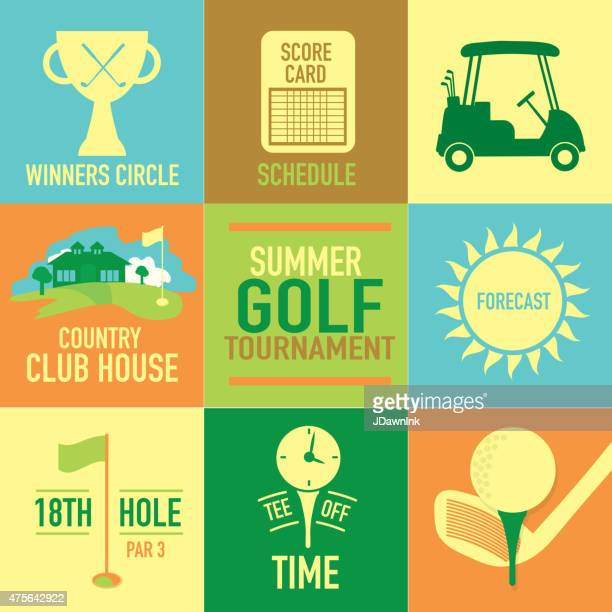 cute summer golf tournament label set - country club stock illustrations, clip art, cartoons, & icons