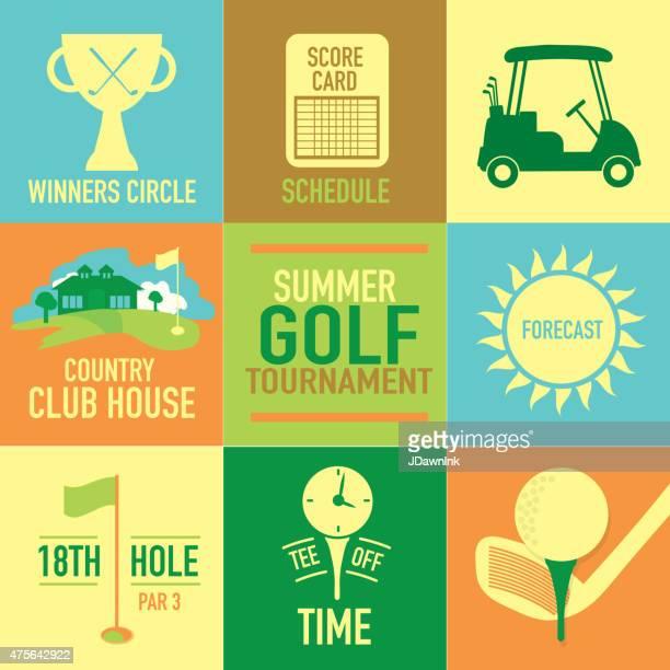 Cute Summer Golf tournament label set