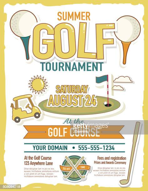 cute summer golf tournament with golf cart invitation design template - golf tournament stock illustrations, clip art, cartoons, & icons