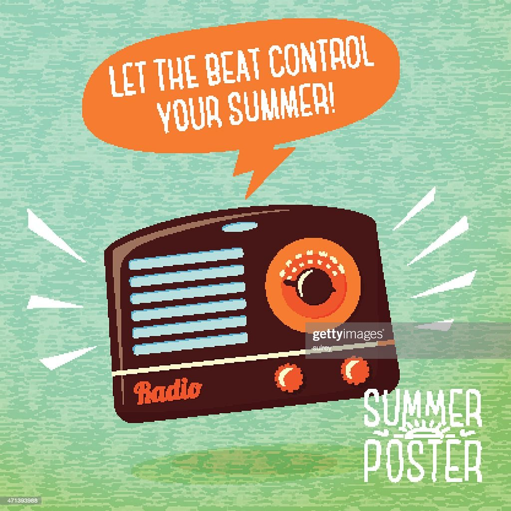 Cute summer poster - radio playing cool music, with speech