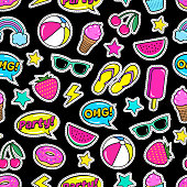 Cute summer seamless colorful pattern of fashion patches: strawberry, slippers, ball,ice-cream, donut, watermelon, cherry, cupcake, speech bubbles etc.