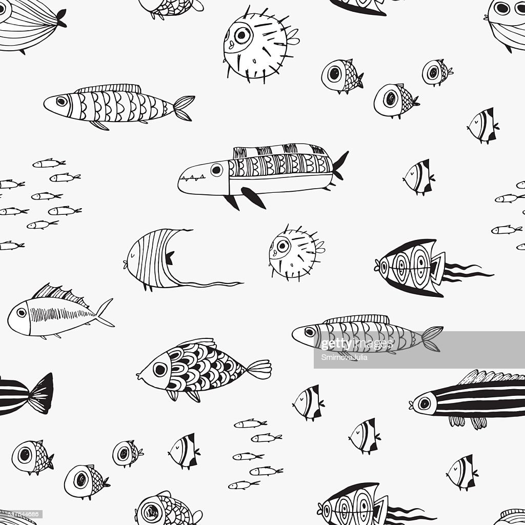 Cute summer tropical fishes. Seamless vector pattern.
