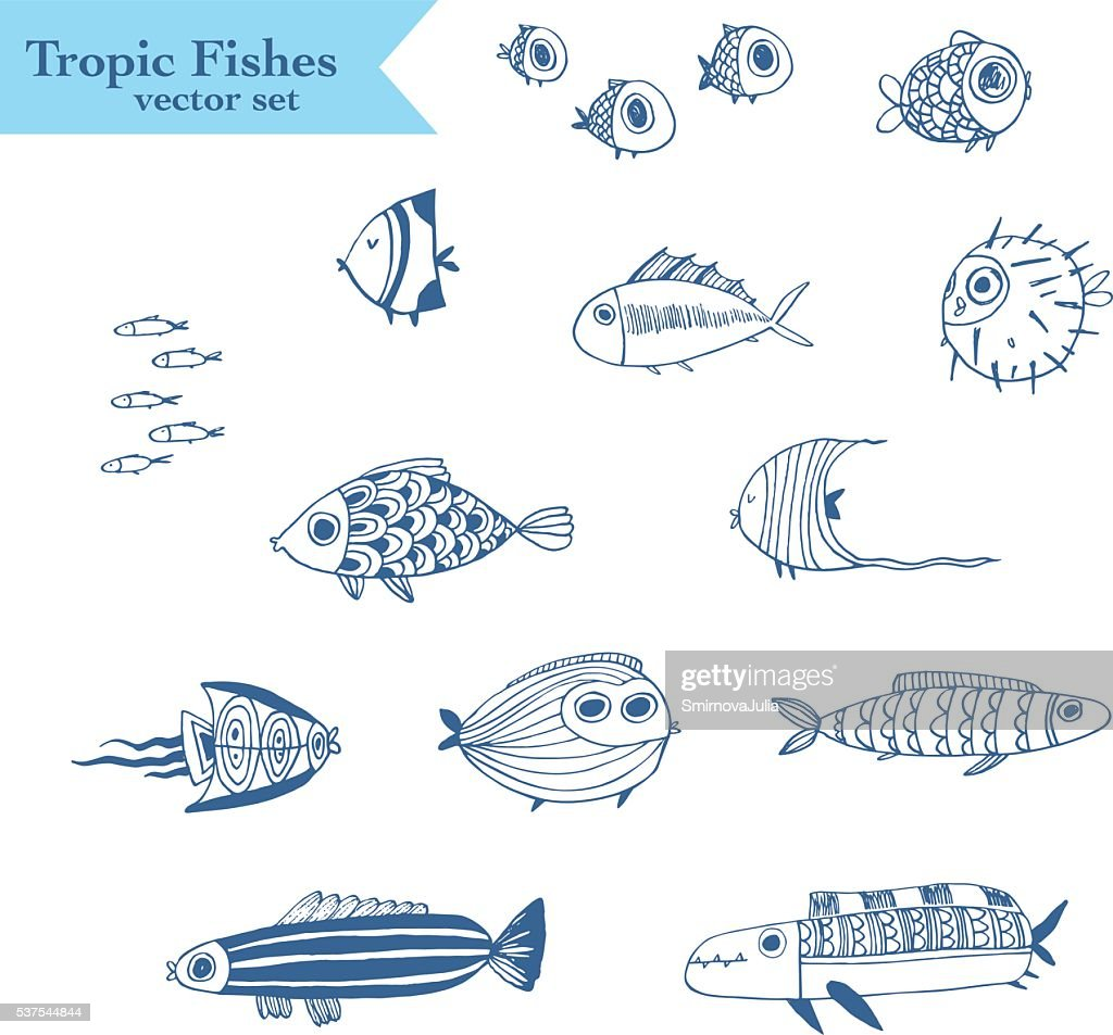 Cute summer tropical fishes. Vector set.