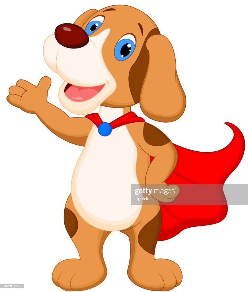 Cute super dog cartoon presenting