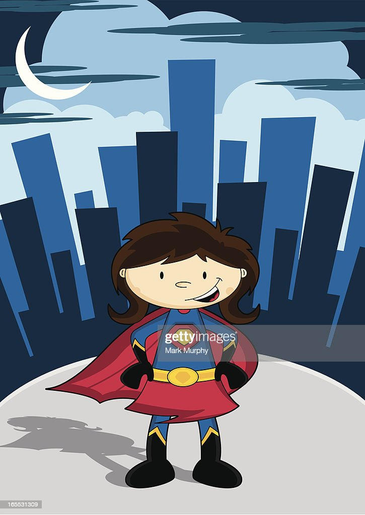 Cute Super Girl Character in City