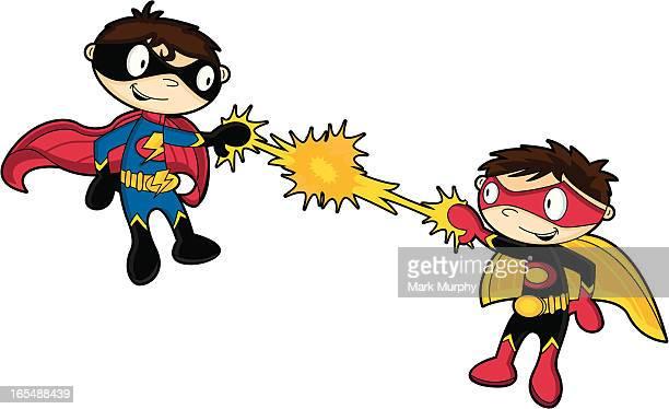 cute superboys fighting - tool belt stock illustrations, clip art, cartoons, & icons