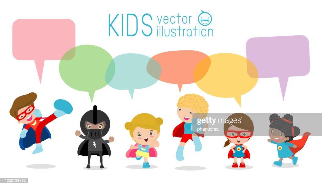 Cute superhero kids with speech bubbles, Set of superhero child with speech bubbles isolated on white background
