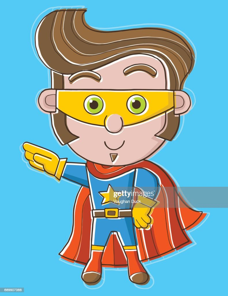 Cute superhero with mask and cape