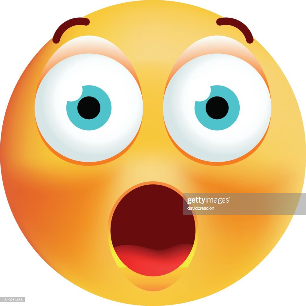 Cute Surprised Emoticon on White Background