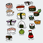 Cute sushi set cartoon vector illustration doodle style