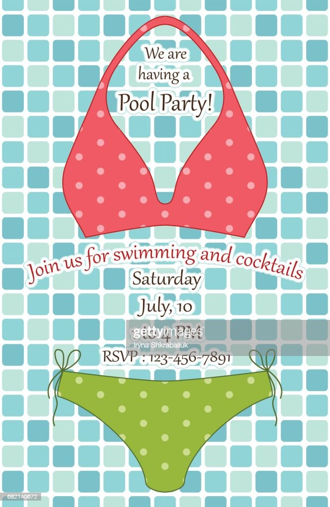 Cute swimsuit on pool tiles background as pool party invitation