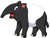 cute tapir cartoon posing