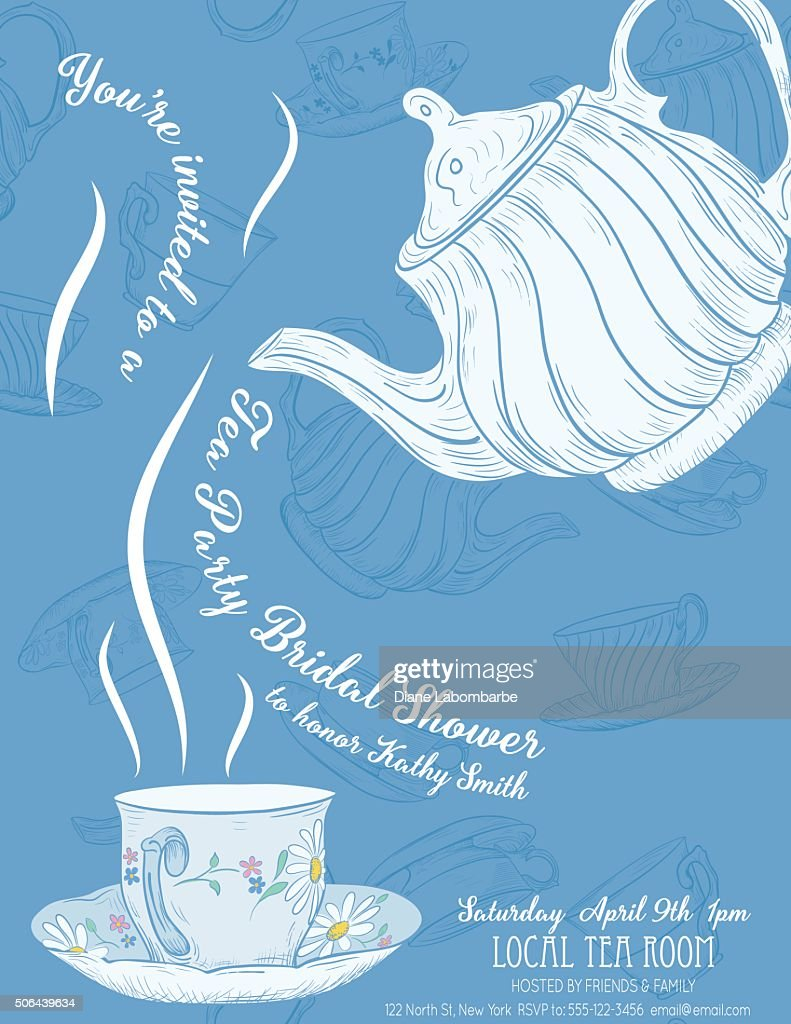 Cute teapot and cup bridal shower invitation vector art getty images cute teapot and cup bridal shower invitation vector art filmwisefo