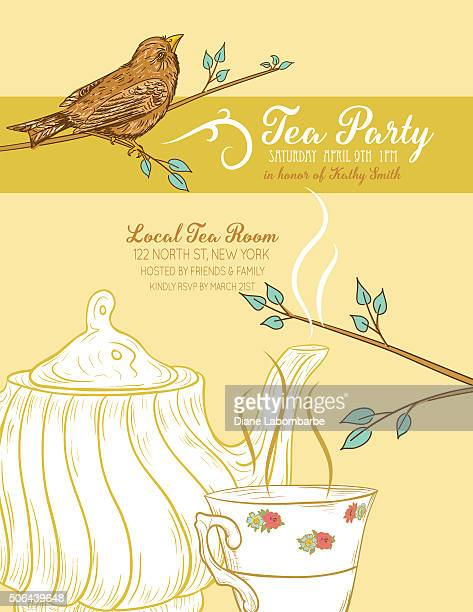 Cute Teapot and Cup Bridal Shower Invitation