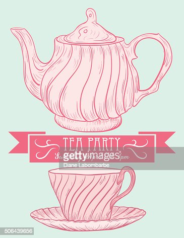 Cute teapot and cup bridal shower invitation vector art getty images filmwisefo