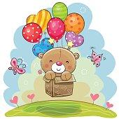 Cute Teddy Bear with balloons